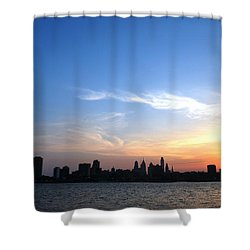 Philadelphia Skyline Low Horizon Sunset Shower Curtain by Matt Harang