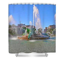 Shower Curtain featuring the photograph Philadelphia - Swann Fountain At Logan Square by Bill Cannon