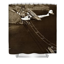 Philippine Clipper A Pan Am Clipper Over The Golden Gate Bridge  1935 Shower Curtain