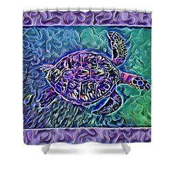 Shower Curtain featuring the digital art Phillis The Turtle by Erika Swartzkopf