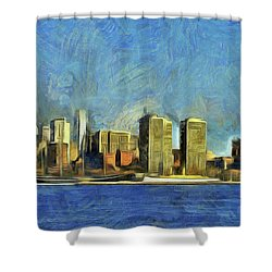 Shower Curtain featuring the mixed media Philly Skyline by Trish Tritz