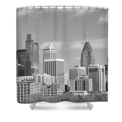 Philly Skyscrapers Black And White Shower Curtain by Jennifer Ancker