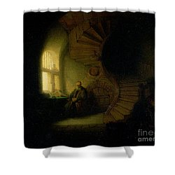 Philosopher In Meditation Shower Curtain by Rembrandt