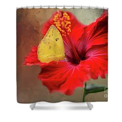 Phoebis Philea On A Hibiscus Shower Curtain by Eva Lechner