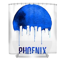 Phoenix Skyline Blue Shower Curtain by Naxart Studio