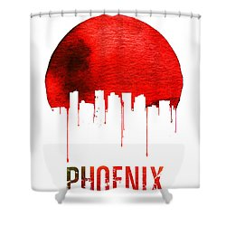 Phoenix Skyline Red Shower Curtain by Naxart Studio
