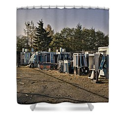 Phone Booth Graveyard Shower Curtain by Kelley King