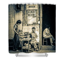 Shower Curtain featuring the photograph Phonecall On Chinese Street by Heiko Koehrer-Wagner
