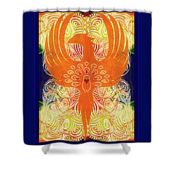 Shower Curtain featuring the digital art Phonix Rising Abstract Healing Art By Omashte by Omaste Witkowski