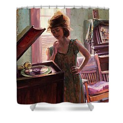Shower Curtain featuring the painting Phonograph Days by Steve Henderson