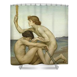 Phosphorus And Hesperus Shower Curtain by Evelyn De Morgan
