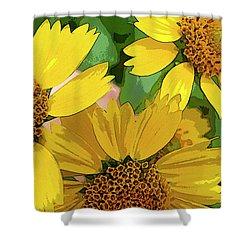 Yellow Wildflowers Photograph II Shower Curtain