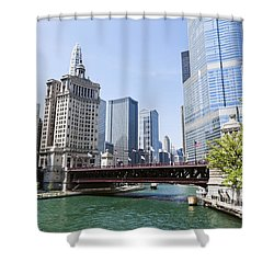 Photo Of Chicago Skyline At Michigan Avenue Bridge Shower Curtain by Paul Velgos
