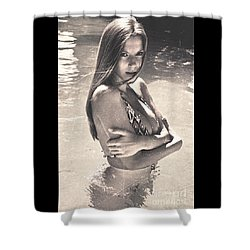 Photograph Vintage Summer Look With Woman In Bikini #8624m Shower Curtain