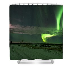 Shower Curtain featuring the photograph Photographer Under The Northern Light by Dubi Roman