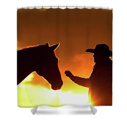 Cowgirl Sunset Sihouette Shower Curtain