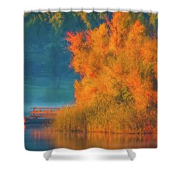 Shower Curtain featuring the photograph Photographing The Sunrise by Marc Crumpler