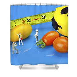 Shower Curtain featuring the photograph Photography Of Tomatoes Little People On Food by Paul Ge