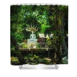 Phra Naga Prok At Wat Hin Laad Shower Curtain by Michelle Meenawong
