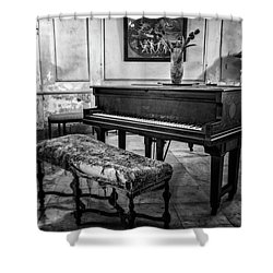 Shower Curtain featuring the photograph Piano At Josie's House Bw by Joan Carroll