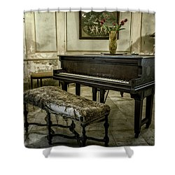 Shower Curtain featuring the photograph Piano At Josie's House by Joan Carroll