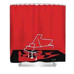Piano In Red Shower Curtain