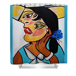 Yellow Hat Picasso Shower Curtain