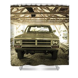 Pick Up Truck In Rural Farm Setting Shower Curtain by Perry Van Munster