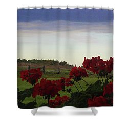 Picket Fence, Flowers And Storms Shower Curtain