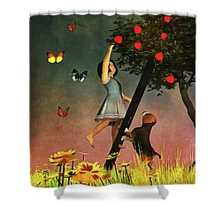 Picking Apples Together Shower Curtain