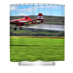 Picking It Up And Putting It Down - Crop Duster - Arkansas Razorbacks Shower Curtain by Jason Politte