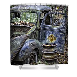 Old Blue Pickup Truck Shower Curtain