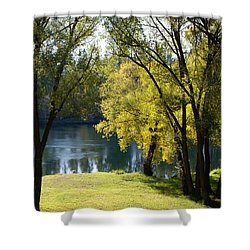 Shower Curtain featuring the photograph Picnic Spot On Spokane River by Ben Upham III