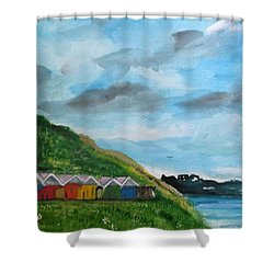 Picture Postcard View Of Scarborough Shower Curtain by Carole Robins