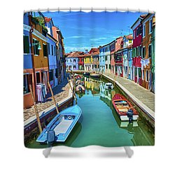 Picturesque Buildings And Boats In Burano Shower Curtain