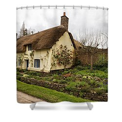 Picturesque Dunster Cottage Shower Curtain by Shirley Mitchell