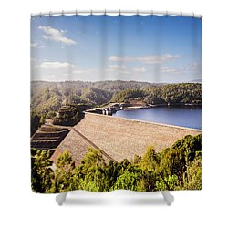 Picturesque Hydroelectric Dam Shower Curtain