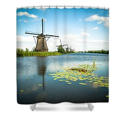 Shower Curtain featuring the photograph Picturesque Kinderdijk by Hannes Cmarits