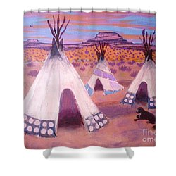 Piegan Indian Tipis Shower Curtain by Suzanne McKay