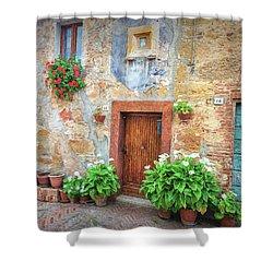 Pienza Street Scene Shower Curtain
