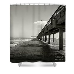Shower Curtain featuring the photograph Pier 1 by Sebastian Mathews Szewczyk