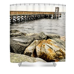 Pier And Rocks At Colt State Park Shower Curtain by Nancy De Flon