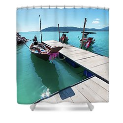Shower Curtain featuring the photograph Pier At Khanom by Atiketta Sangasaeng