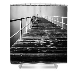 Pier At Pooley Bridge On Ullswater In The Lake District Shower Curtain