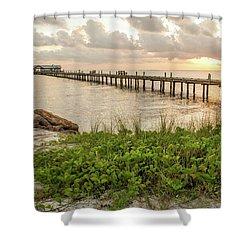 Pier At Sunrise Shower Curtain