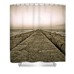 Pier At Sunset Shower Curtain by Marilyn Hunt