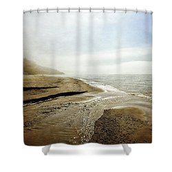 Pier Cove Creek Mouth At Lake Michigan Shower Curtain