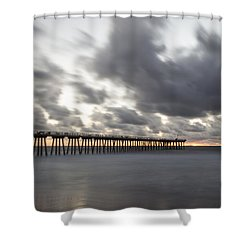 Pier In Misty Waters Shower Curtain by Ed Clark
