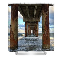 Pier In Strength And Peaceful Serenity Shower Curtain by Cindy Croal