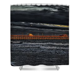 Shower Curtain featuring the photograph Pier Into Darkness by Kelly Reber